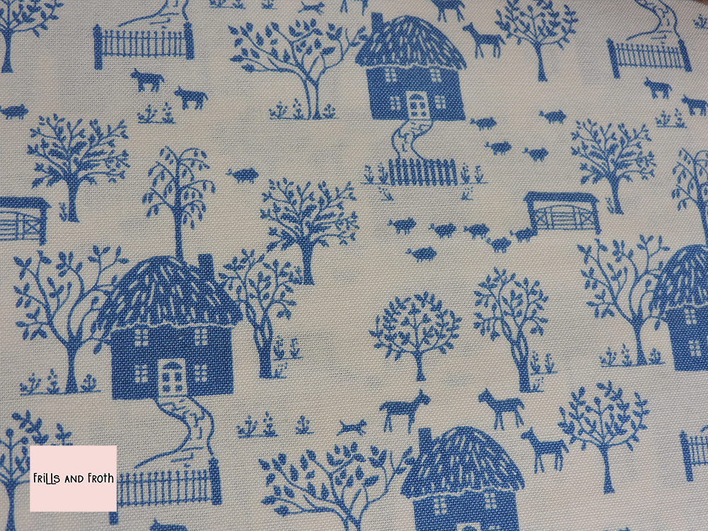 Liberty Fabric 'Cottage Lane' in blue quilting fabric