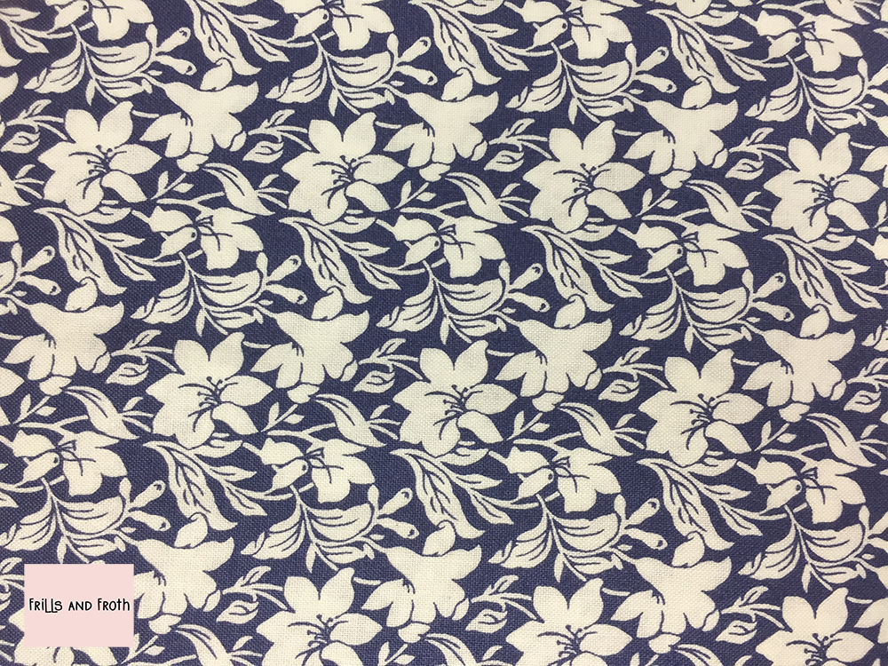 Liberty fabric 'Daylily' in blue quilting fabric