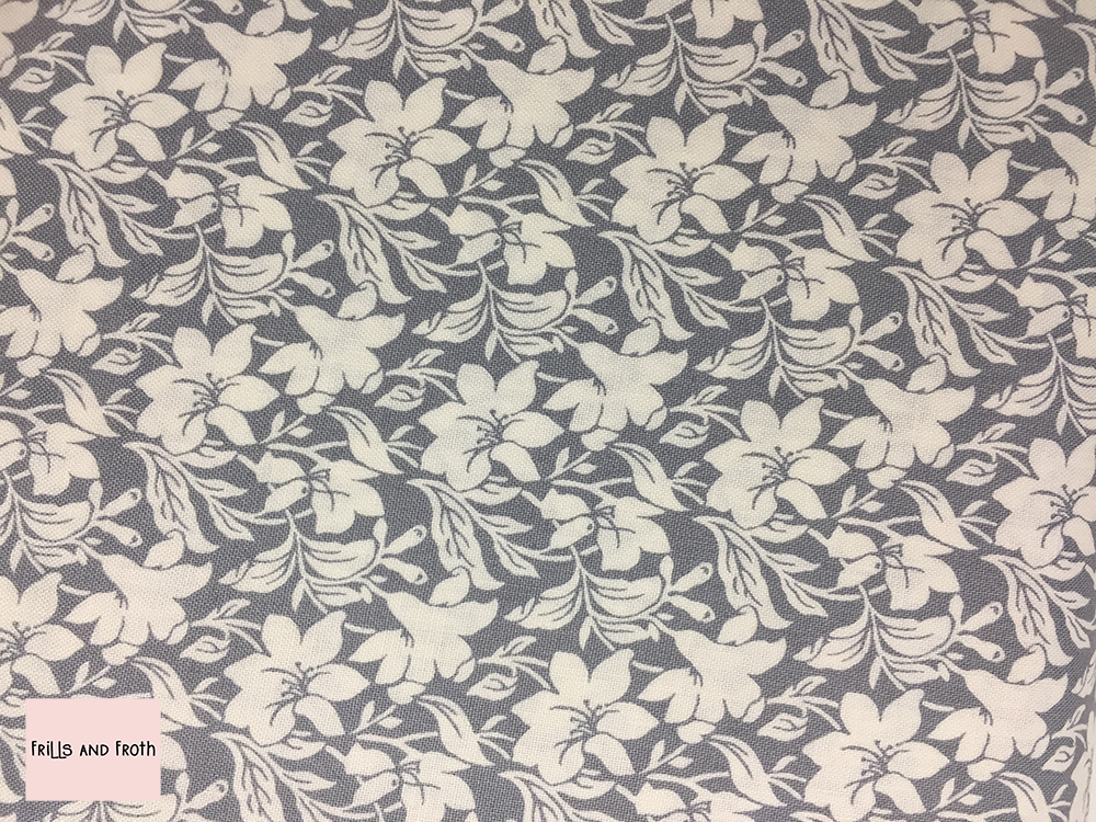 Liberty fabric 'Daylily' in grey quilting fabric