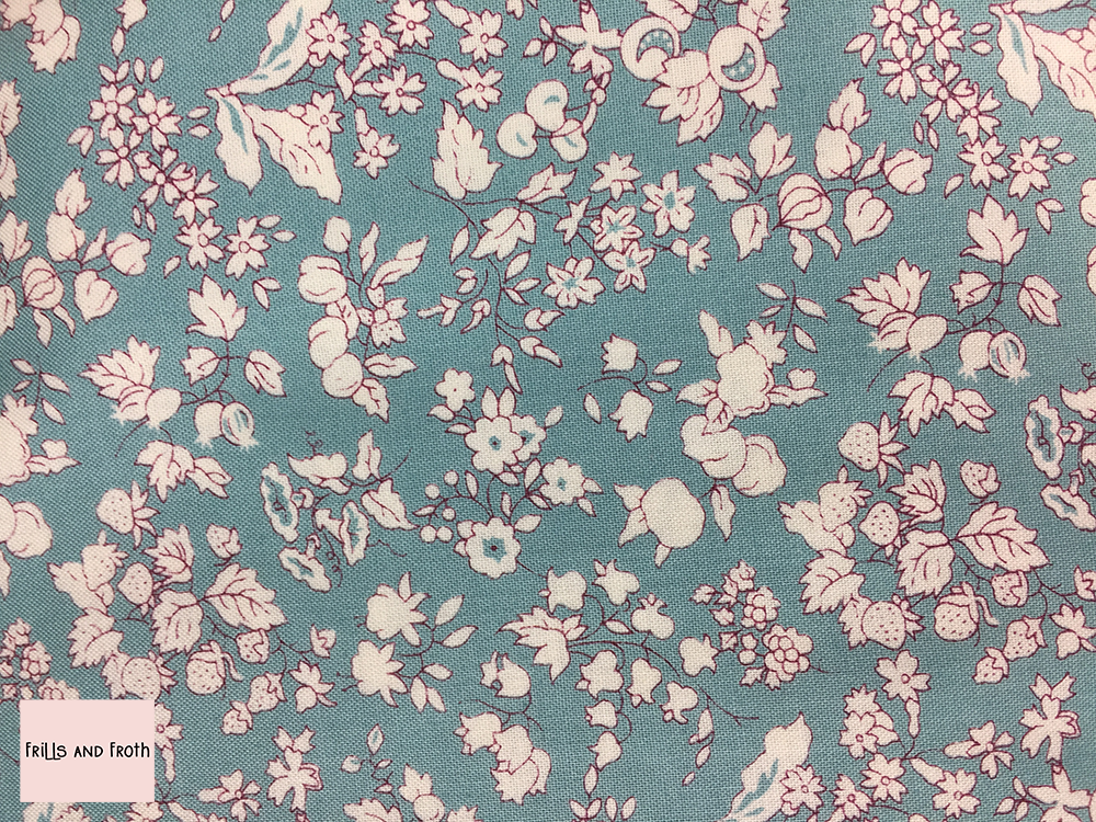 Liberty fabric 'Fruit Silhouette' in turquoise quilting fabric
