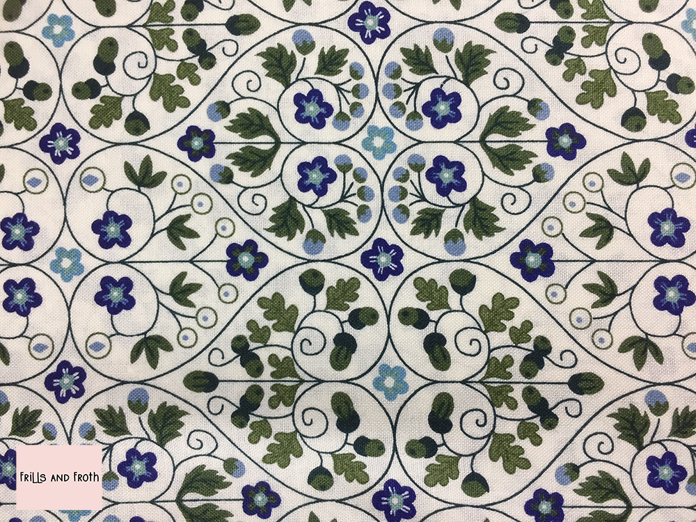 Liberty fabric 'Garden Gates' in blue quilting fabric