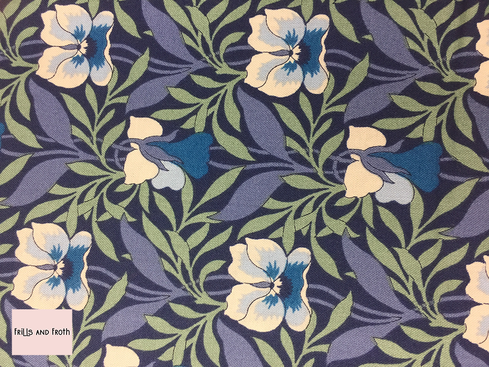Liberty fabric 'Harriet's Pansy' in blue quilting fabric