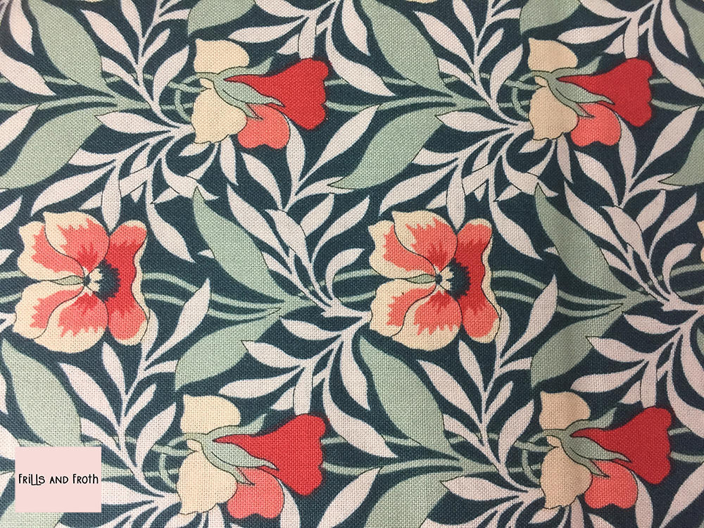 Liberty fabric 'Harriet's Pansy' in green quilting fabric