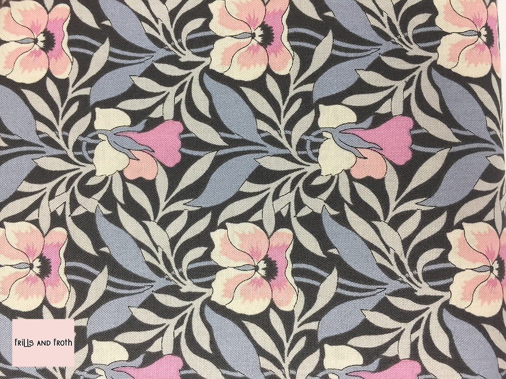 Liberty fabric 'Harriet's Pansy' in pink quilting fabric