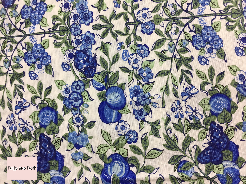 Liberty fabric 'Orchard' in blue quilting fabric