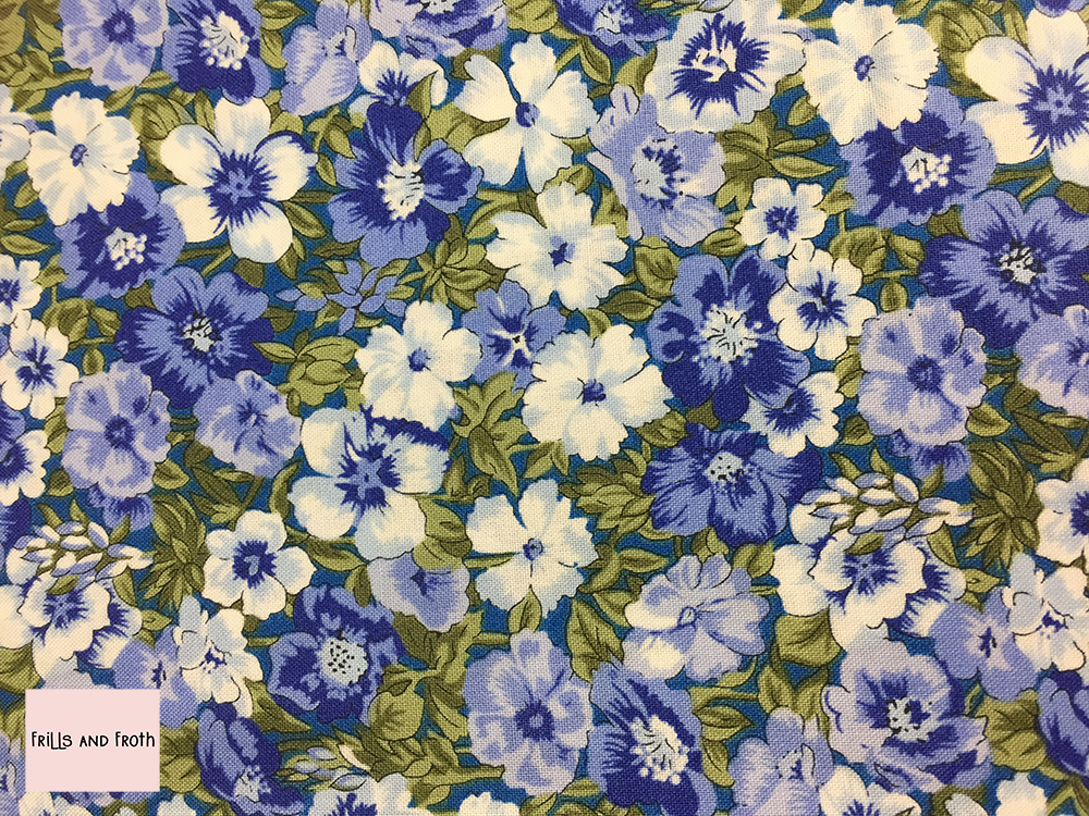 Liberty fabric 'Peach Bloom' in blue quilting fabric