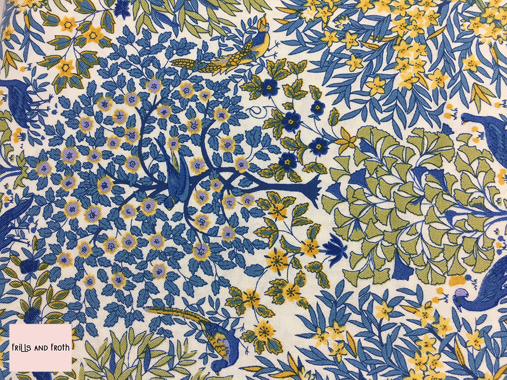 Liberty fabric 'Pheasant Forest' in blue quilting fabric