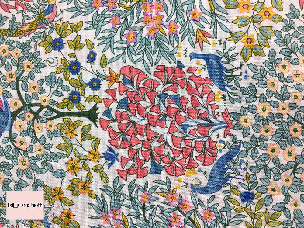 Liberty fabric 'Pheasant Forest' in pink quilting fabric