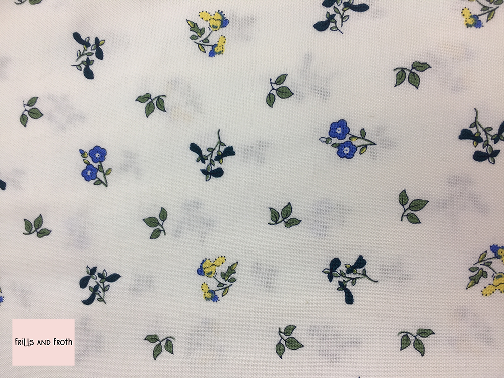 Liberty fabric 'Pome Blossom' in blue and yellow quilting fabric