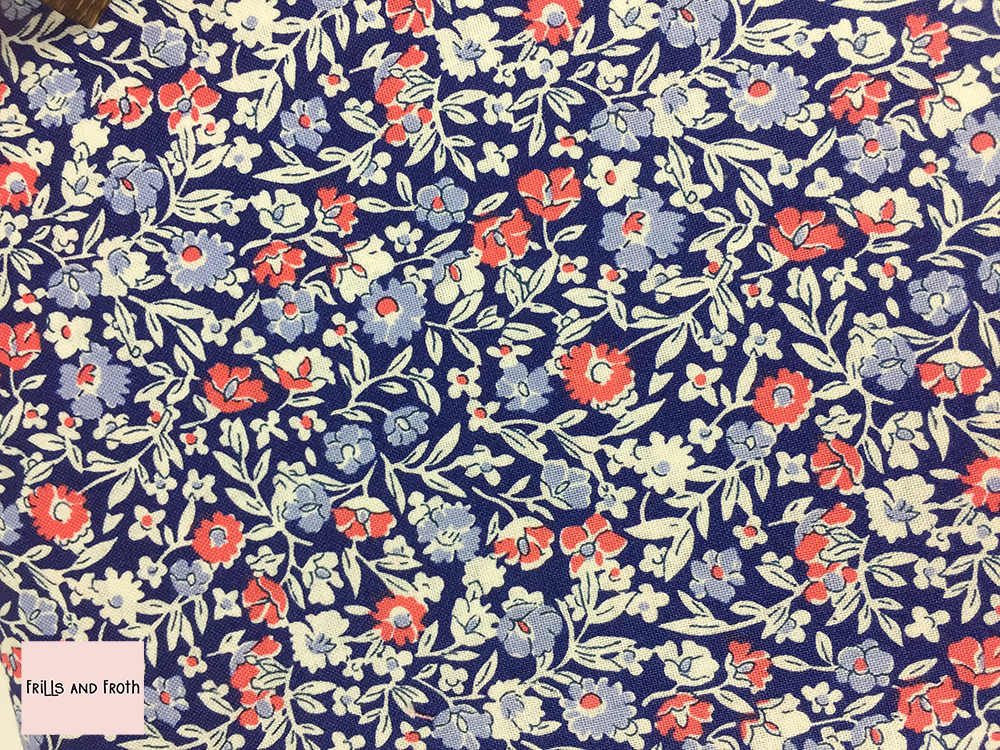 Liberty fabric 'Primula Dawn' in blue and pink quilting fabric