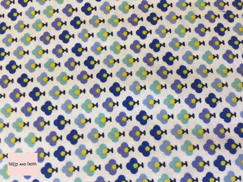 Liberty Fabric 'Topiary Chevron' in blue quilting fabric