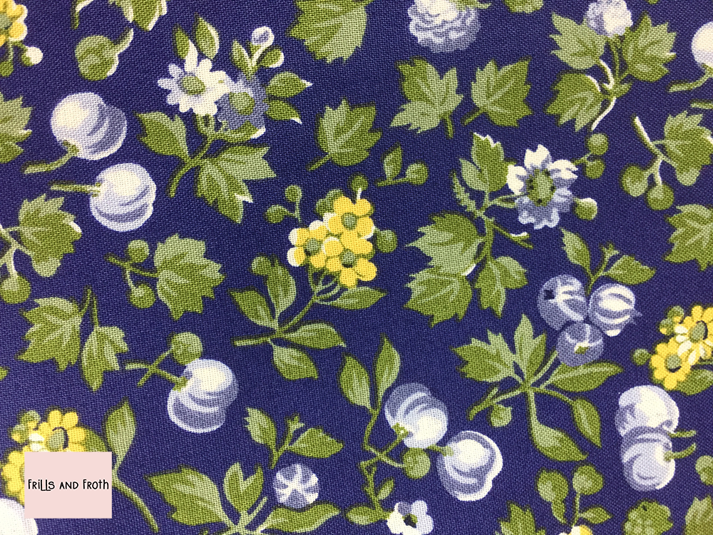 Liberty fabric 'Wild Cherry' in blue quilting fabric