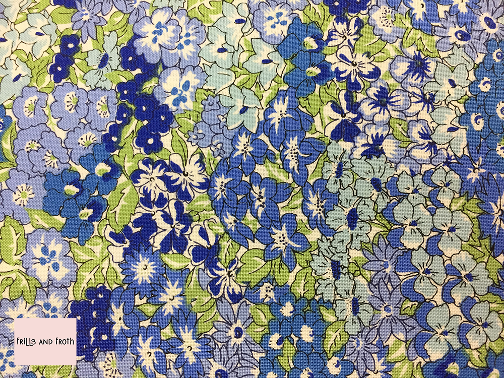 Liberty fabric 'Wisely Grove' in blue quilting fabric