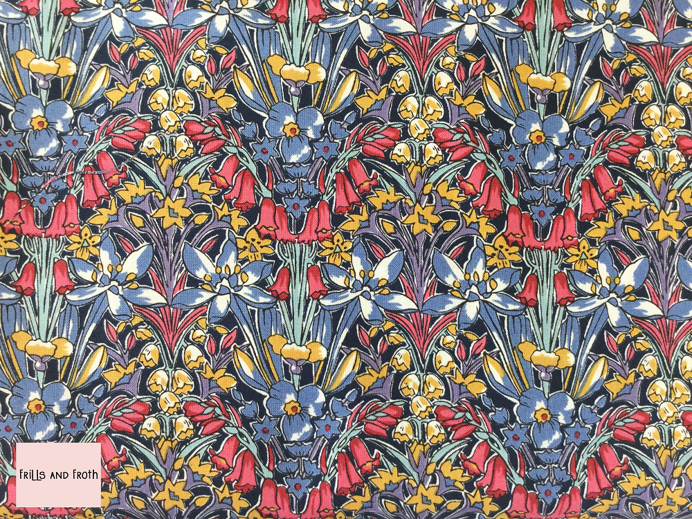 Liberty fabric 'Adlington Hall' quilting fabric Liberty 'Adlington Hall' fabric from the 'Flower Show Winter' collection features a bold bright floral print.