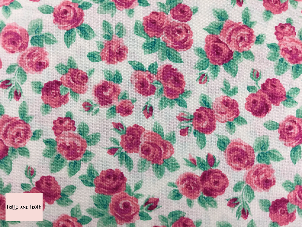 Liberty fabric 'Ascot Rose' quilting fabric Liberty 'Ascot Rose' fabric from the 'Flower Show Summer' collection features a pink floral design.
