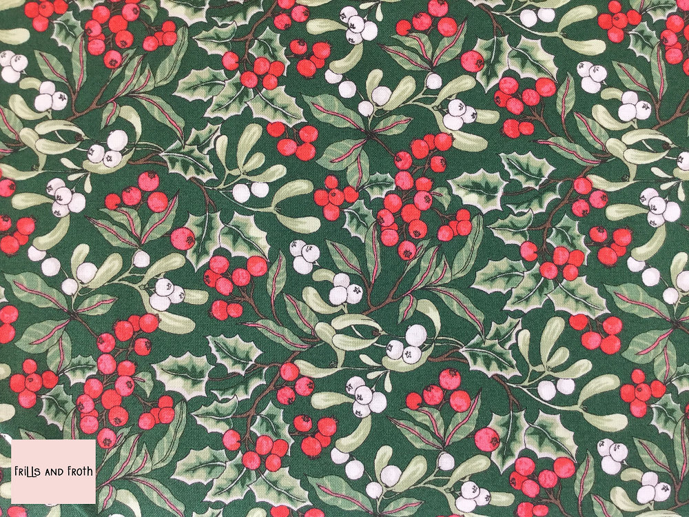Liberty fabric 'Christmas Berry' in Green quilting fabric Liberty 'Christmas berry' fabric from the 'A Festive Collection' features a festive, foliage and berry print.