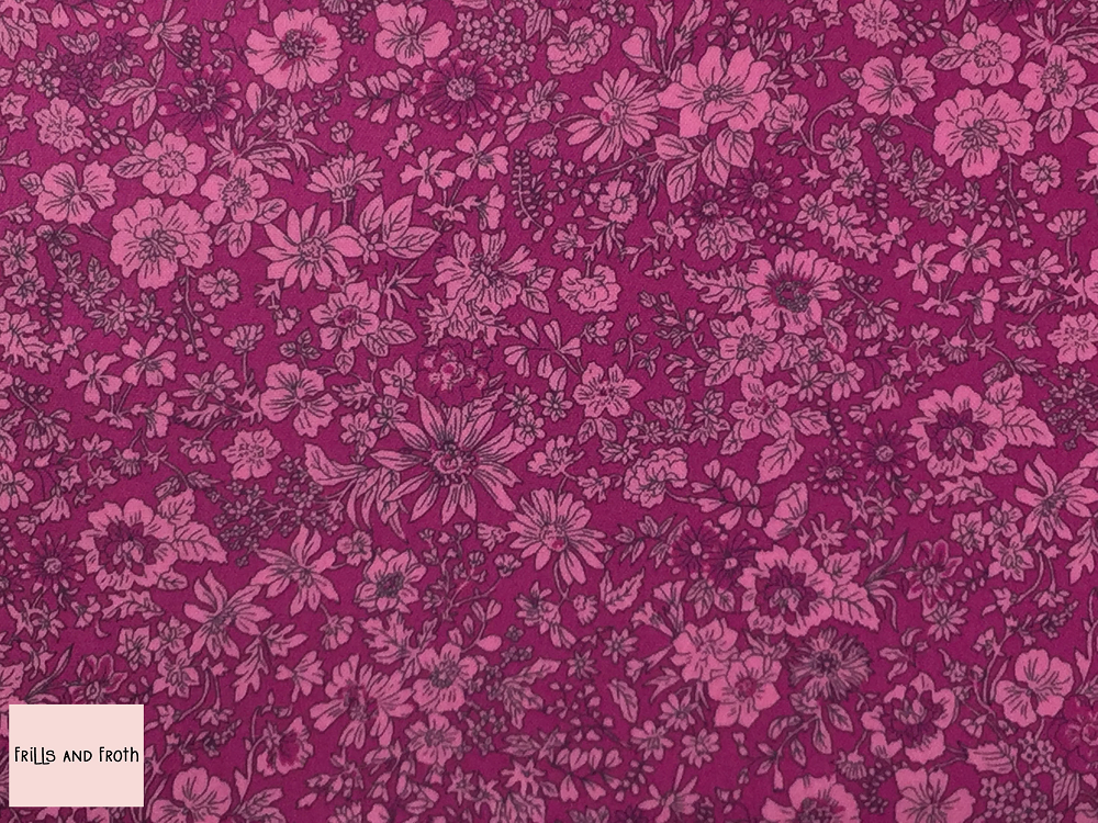 Liberty fabric 'Emily Silhouette' quilting fabric Liberty 'Emily Silhouette' fabric from the 'Flower Show Summer' collection features a two tone pink floral design