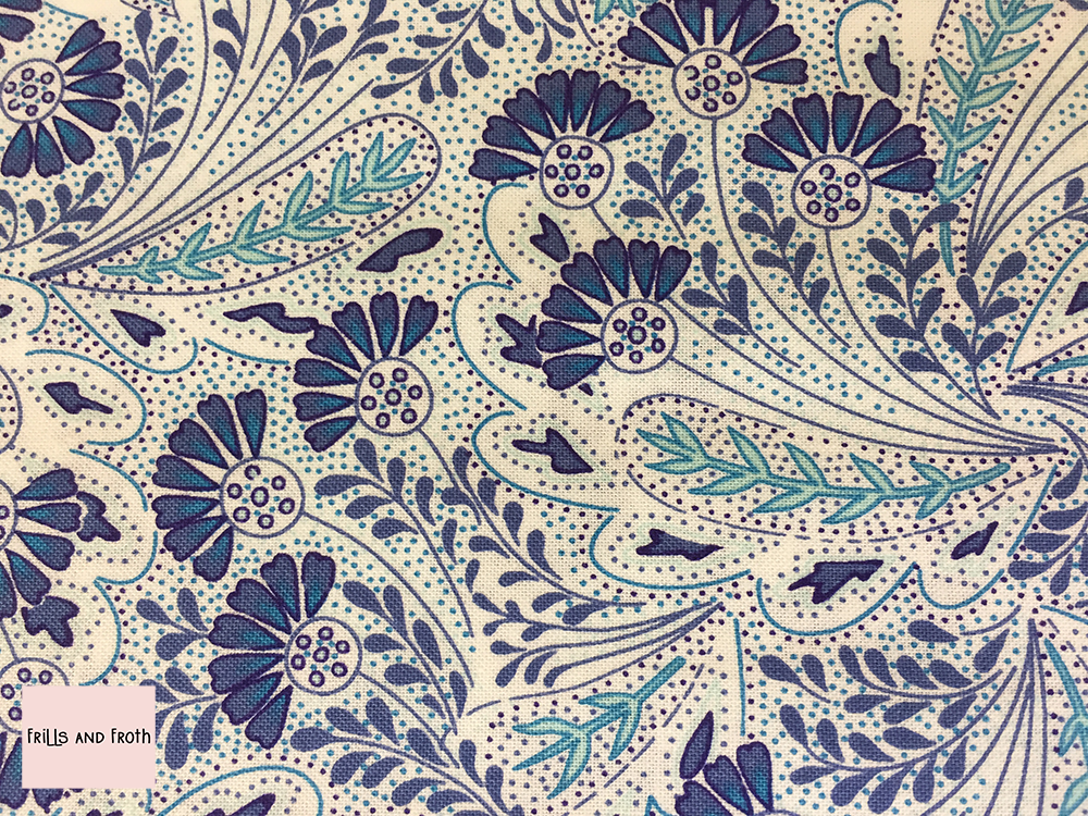 Liberty fabric 'Feather Dance' in blue quilting fabric