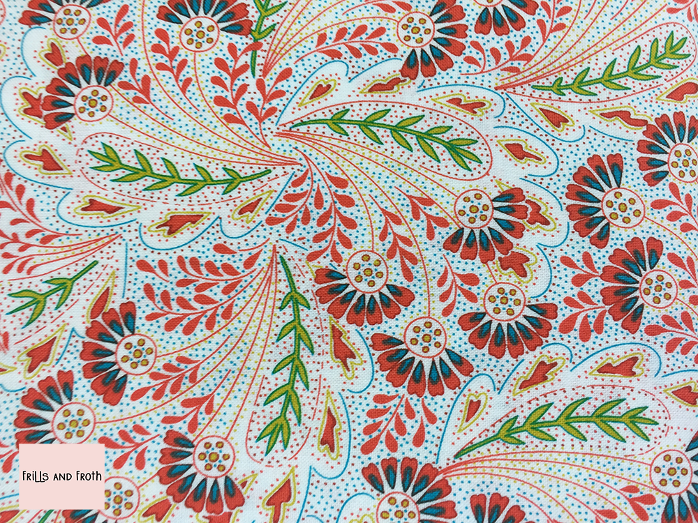Liberty fabric 'Feather Dance' in red quilting fabric