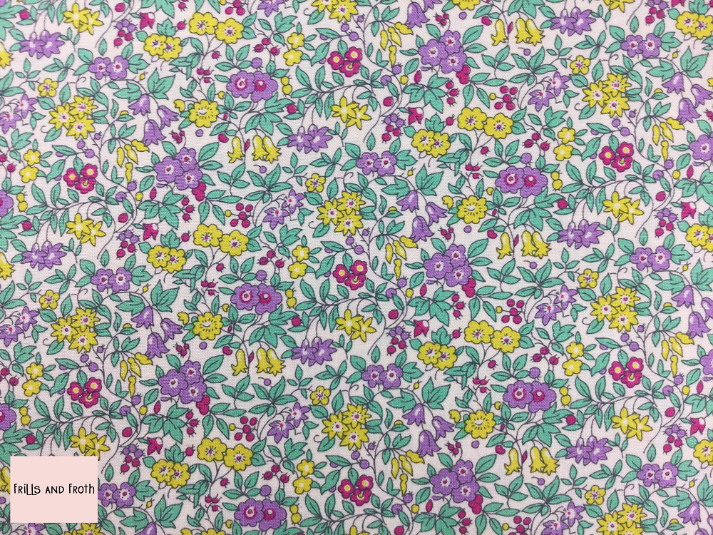 Liberty fabric 'Forget Me Not Blossom' quilting fabric Liberty 'Forget Me Not Blossom' fabric from the 'Flower Show Summer' collection features a multi-coloured floral design