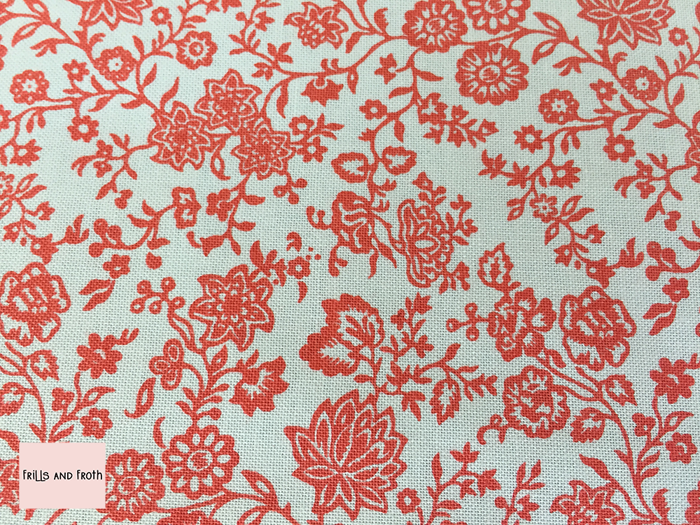 Liberty fabric 'Hampton Vines' in red quilting fabric