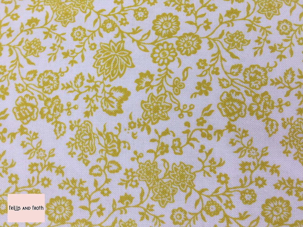 Liberty fabric 'Hampton Vines' in yellow quilting fabric