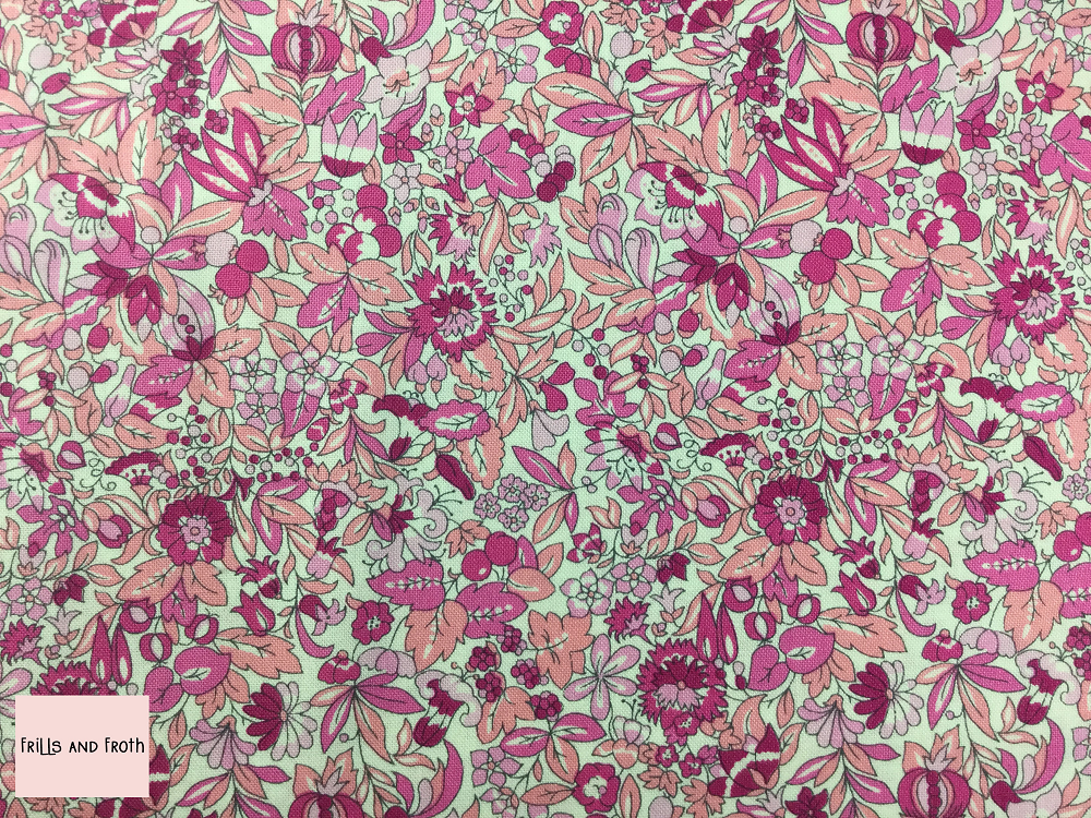Liberty fabric 'Hyde Floral' quilting fabric Liberty 'Hyde Floral' fabric from the 'Flower Show Summer' collection features a pink floral design