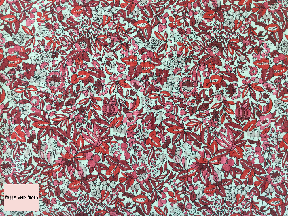 Liberty fabric 'Hyde Floral' quilting fabric in red Liberty 'Hyde Floral' fabric from the 'Flower Show Winter' collection features a red floral design.