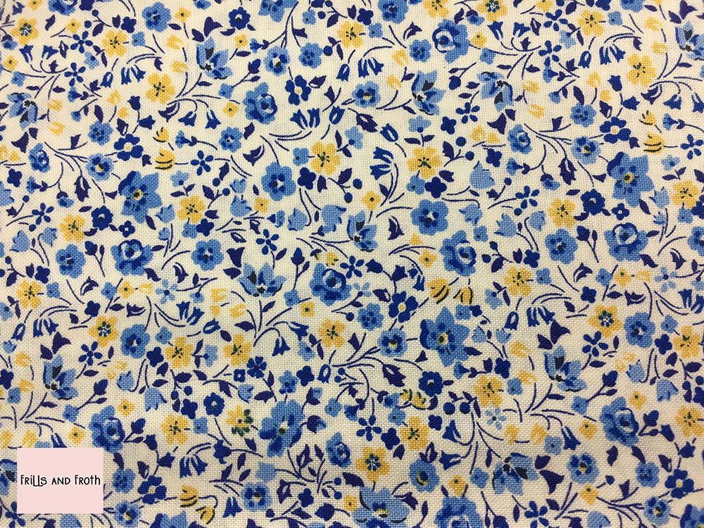 Liberty fabric 'Kimberley and Sarah' in blue and yellow quilting fabric