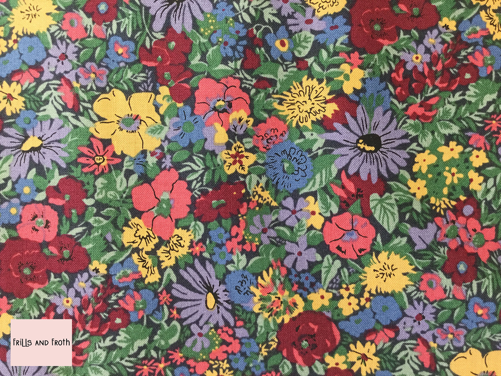 Liberty fabric 'Malvern Meadow' quilting fabric Liberty 'Malvern Meadow' fabric from the 'Flower Show Winter' collection features a multi-coloured floral design.