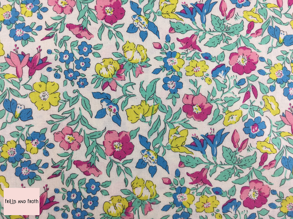 Liberty fabric 'Mamie' quilting fabric Liberty 'Ascot Rose' fabric from the 'Flower Show Summer' collection features a multi-coloured floral design