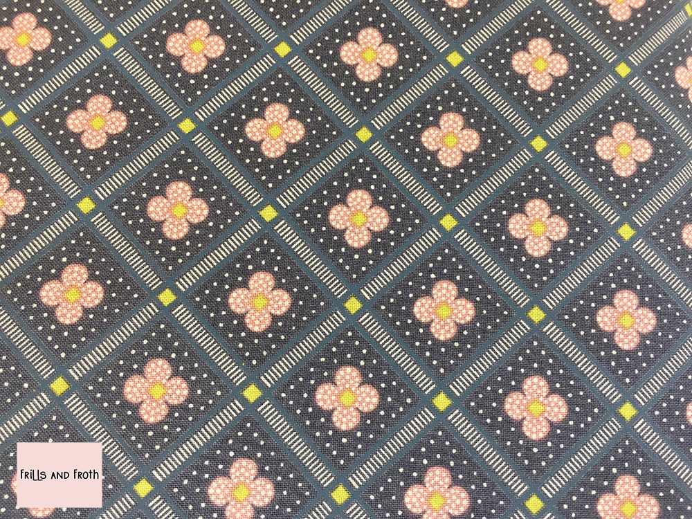 Liberty fabric 'Manor Tiles' in charcoal quilting fabric