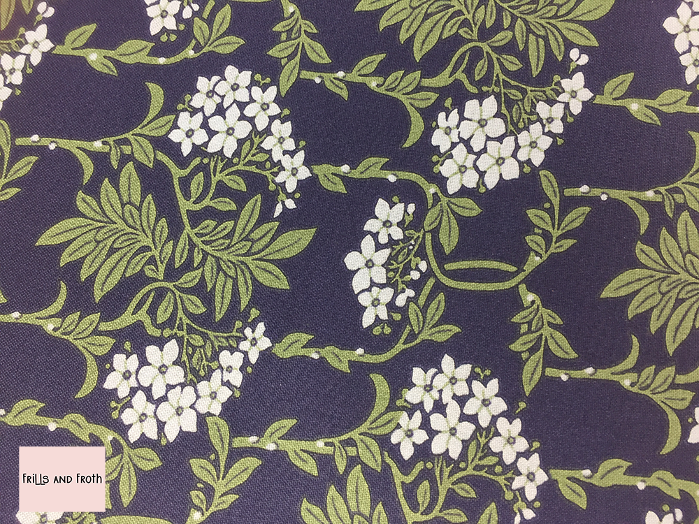 Liberty fabric 'Nouveau Mayflower' in blue quilting fabric