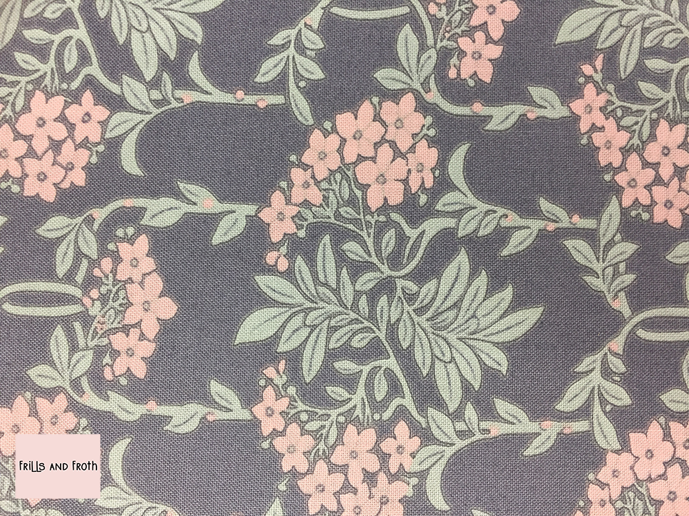 Liberty fabric 'Nouveau Mayflower' in pink and grey quilting fabric