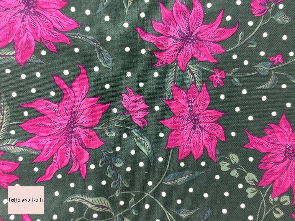 Liberty fabric 'Poinsettia' in pink and green quilting fabric