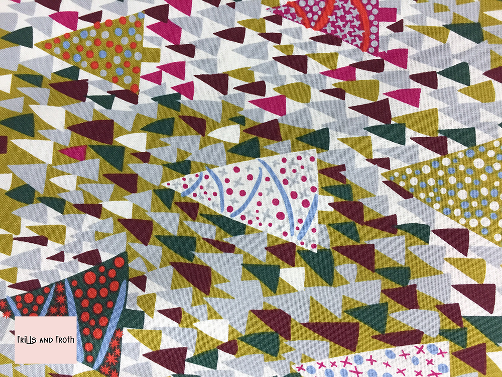 Liberty fabric 'Sparkling Forest' in mustard and pink quilting fabric