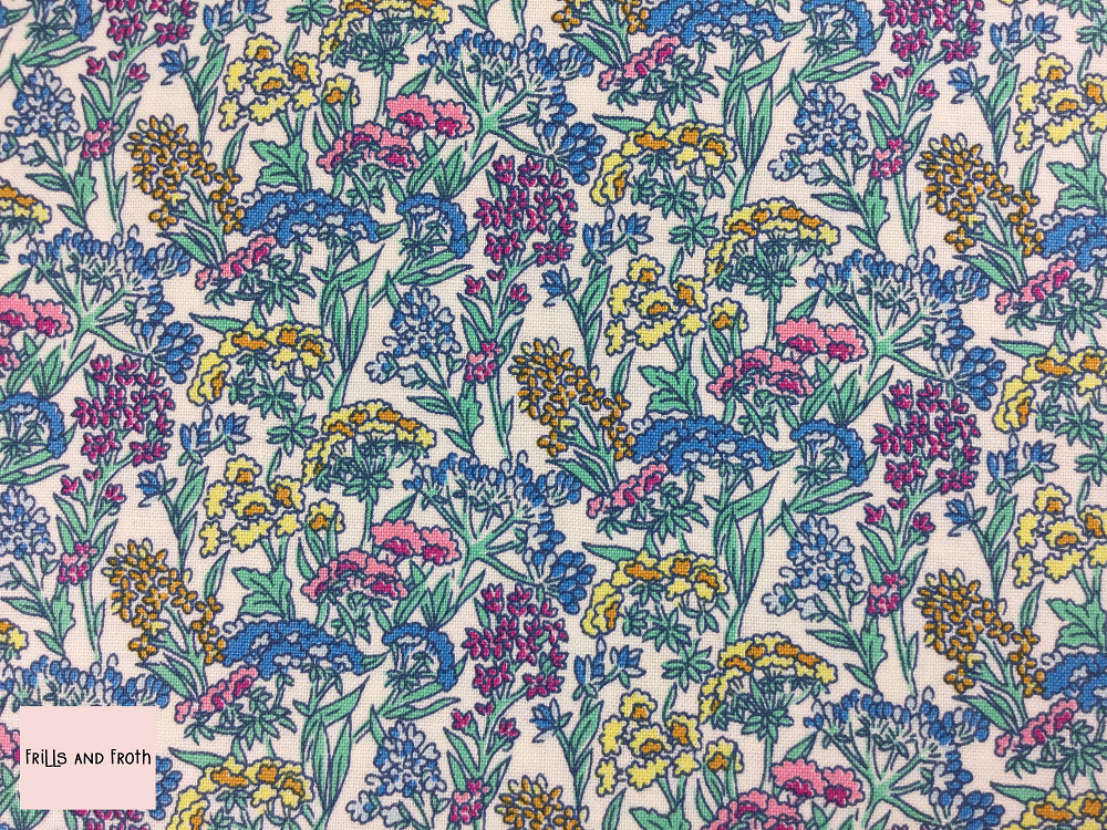 Liberty fabric 'Yorkshire Meadow' quilting fabric Liberty 'Yorkshire Meadow' fabric from the 'Flower Show Summer' collection features a multi-coloured floral design