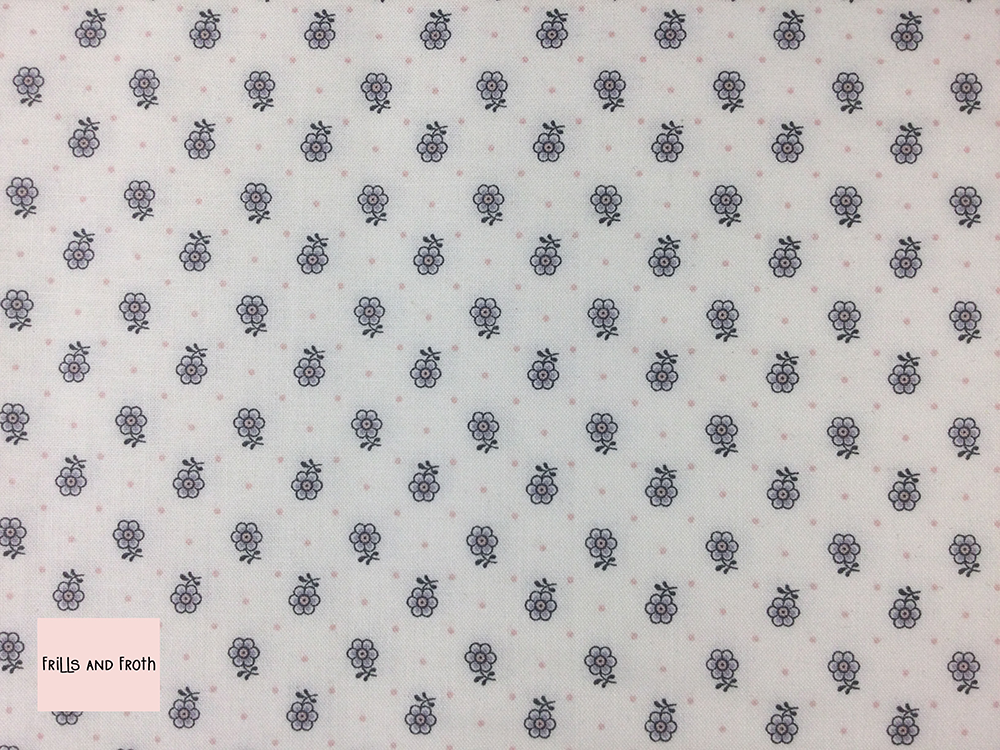 Liberty fabric 'Kingly Sprig' quilting fabric Liberty 'Kingly Sprig' fabric from the 'Emporium' collection features a monochrome floral design.