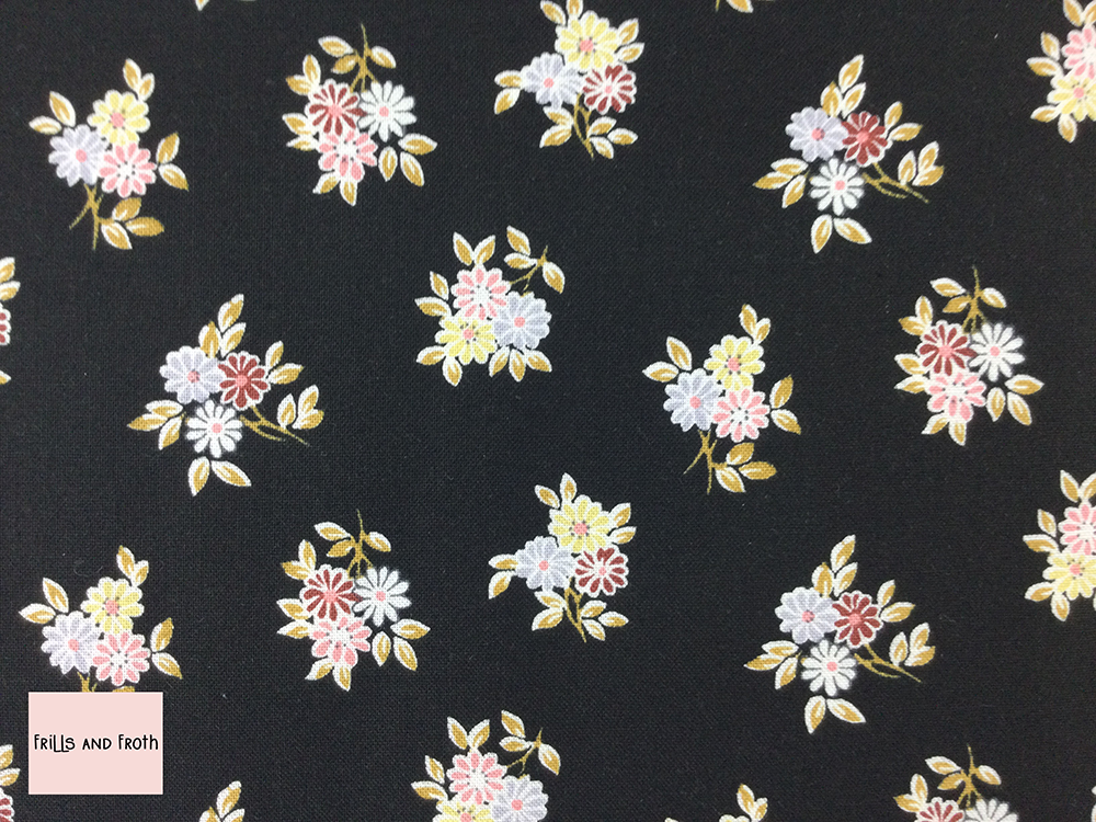 Liberty fabric 'Kyoto Posey' quilting fabric Liberty 'Kyoto Posey' fabric from the 'Emporium' collection features a monochrome floral design.