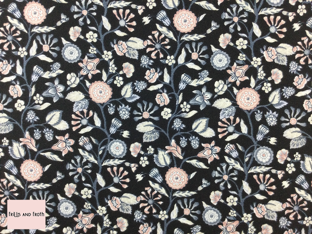 Liberty fabric 'Merchant's Tree' quilting fabric Liberty 'Merchant's Tree' fabric from the 'Emporium' collection features a monochrome floral design.