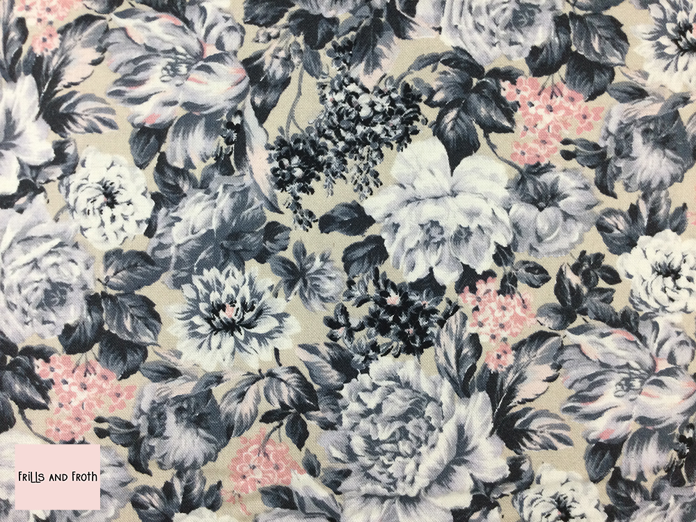 Liberty fabric 'Wild Bloom' quilting fabric Liberty 'Wild Bloom' fabric from the 'Emporium' collection features a monochrome floral design.
