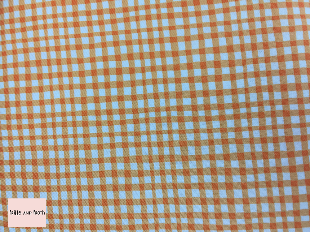 Michael Miller 'Gingham Play' in pumpkin quilting fabric