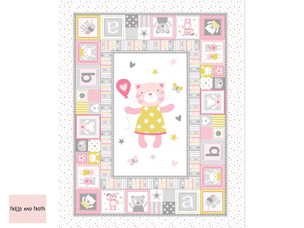 Michael Miller 'Cuddly Cat' quilting fabric panel in pink