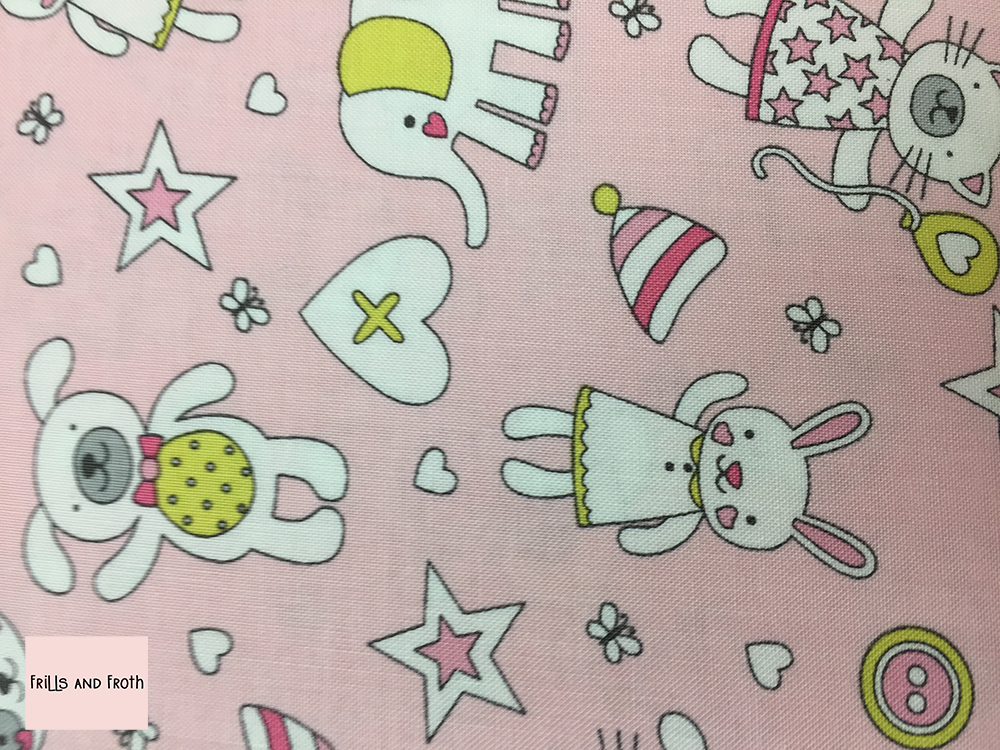 Michael Miller fabric 'Munchkins' in pink on pink quilting fabric