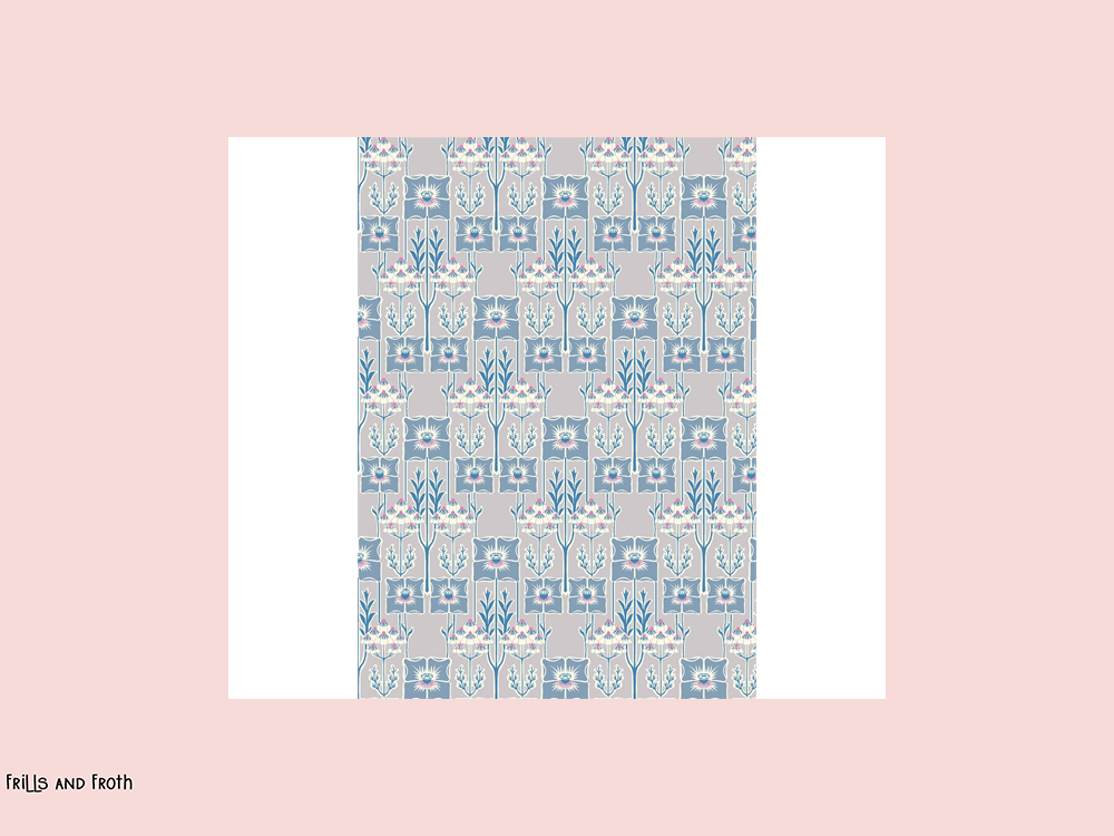 Liberty fabric 'Nouveau Poppy' quilting fabric Liberty 'Nouveau Poppy' fabric from the 'Deco Dance' collection features a blue floral design.