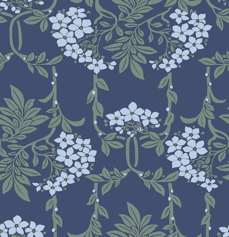 Liberty fabric Nouveau mayflower in blue, A quilting weight cotton fabric from the new fabric collection 'hesketh house' from Liberty of London fabric. this quilting weight cotton is suiltable for all sewing crafts from dress making to quilting. Sold by the metre and fat quarter by UK fabric seller frills and froth