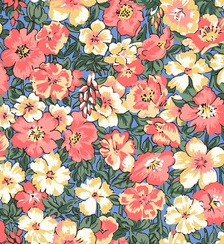 Liberty fabric, peach blossom, floral fabric, autumn colours, frills and froth