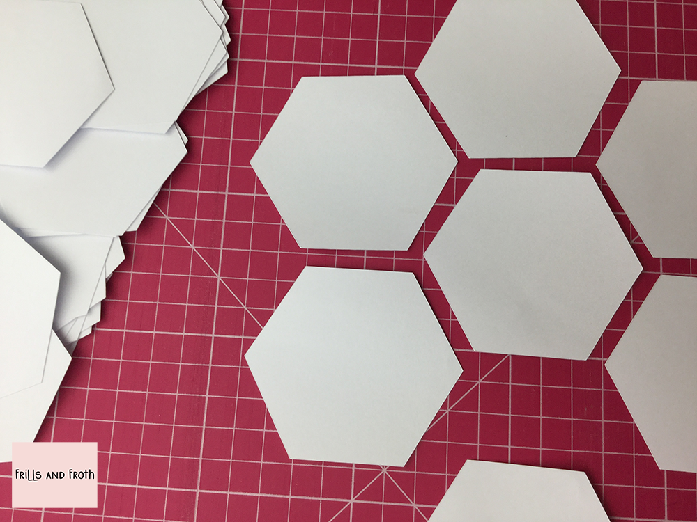 Pre cut paper hexagons for English paper piecing EPP in the UK