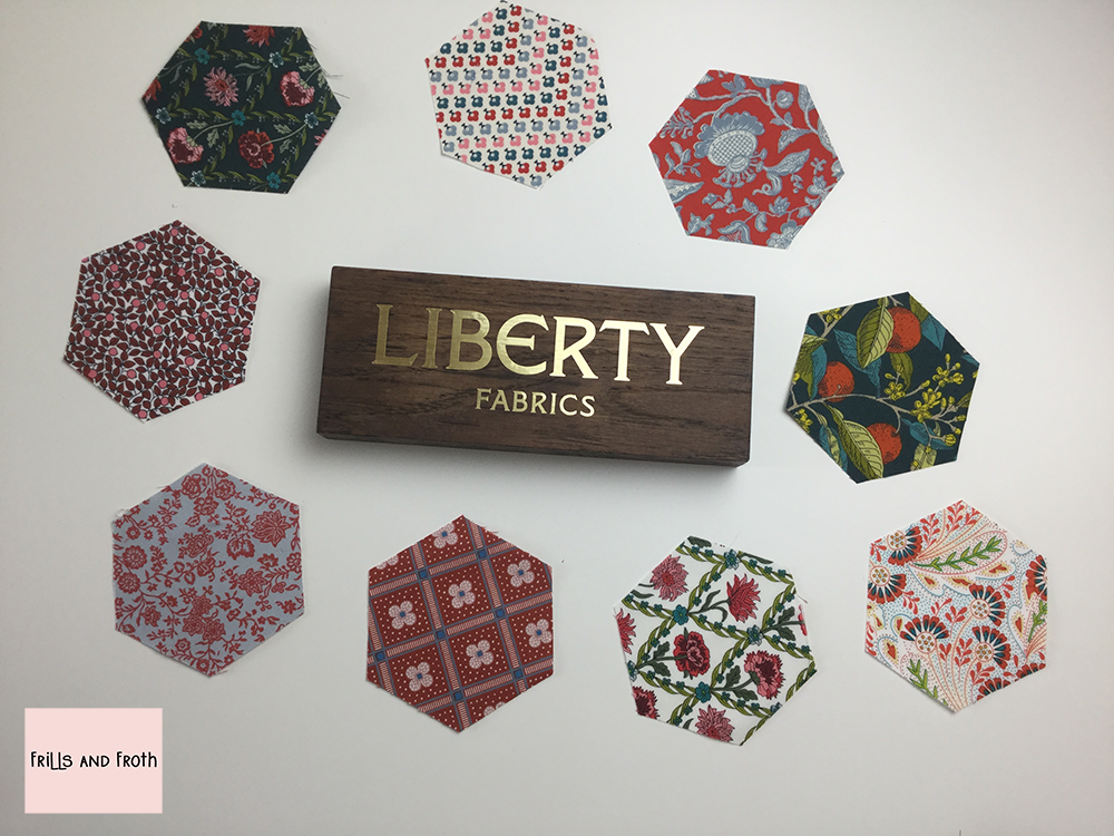 Pre cut Liberty Fabric Hexagons for EPP 'Summer House' Red