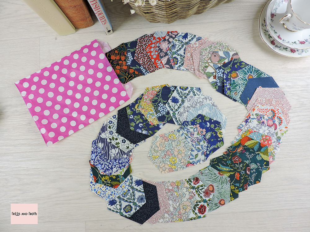 Pre cut Liberty fabric 2 inch hexagons for EPP